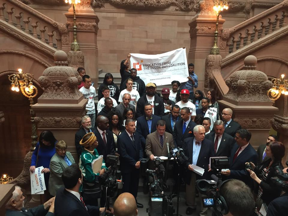 The Education from the Inside Out Coalition we stood with the Black, Puerto Rican, Hispanic and Asian Legislative Caucus for the release of their comprehensive strategy for criminal justice reform in Albany earlier this year. (Photo: Education from the Inside Out Coalition)
