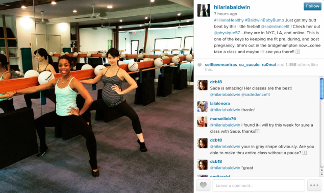 Hilaria Baldwin visited Physique 57. (Photo: Instagram)