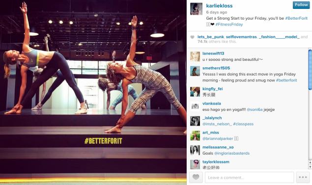 Karlie Kloss did some Friday yoga. (Photo: Instagram)