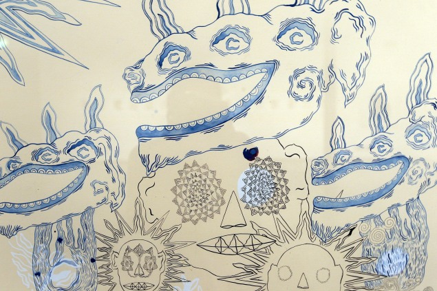 A detail of a painting by singer/songwriter Devendra Banhart is displayed at 'It's Not Only Rock'n'Roll Baby' Exhibition At Triennale Bovisa in Milan, Italy. (Photo by Vittorio Zunino Celotto/Getty Images)