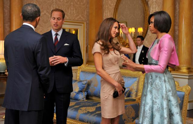 The President and First Lady met with Prince William and Kate Middleton.  (Photo: Toby Melville - WPA Pool/Getty Images)