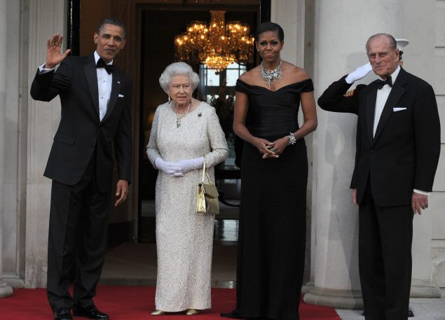 President Obama and the First Lady dined with the Queen and Prince Phillip. (Photo: JEWEL SAMAD/AFP/Getty Images)