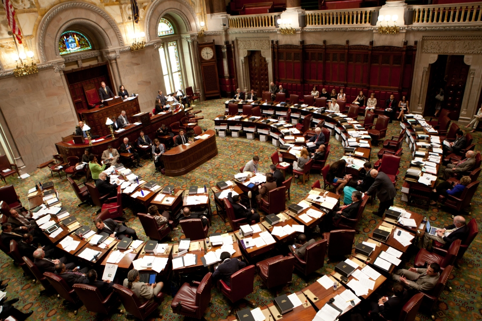 ALBANY, NY - JUNE 16: The New York State Senate debates legislation in the Senate chamber on June 16, 2011 in Albany, New York. The Senate is expected to vote on a bill that would legalize gay marriage as soon as tomorrow. (Photo by Matthew Cavanaugh/Getty Images)