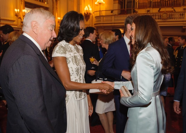 Ms. Obama and the Duchess of Cambridge greeted each other at Buckingham Palace. (Photo by Dominic Lipinski - WPA Pool/Getty Images)