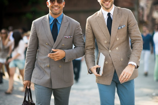FLORENCE, TUSCANY - JUNE 20:  Victor Hugo deLeon and Dennis Van Heck (R) at Pitti Immagein Uomo 84 on June 20, 2013 in Florence, Italy.  (Photo by Adam Katz Sinding/WireImage)