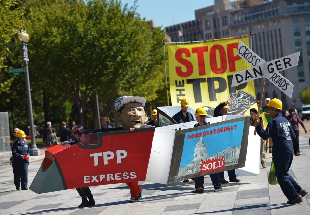 Demonstrators protesting against the Trans-Pacific Partnership (TPP).         (MANDEL NGAN/AFP/Getty Images)