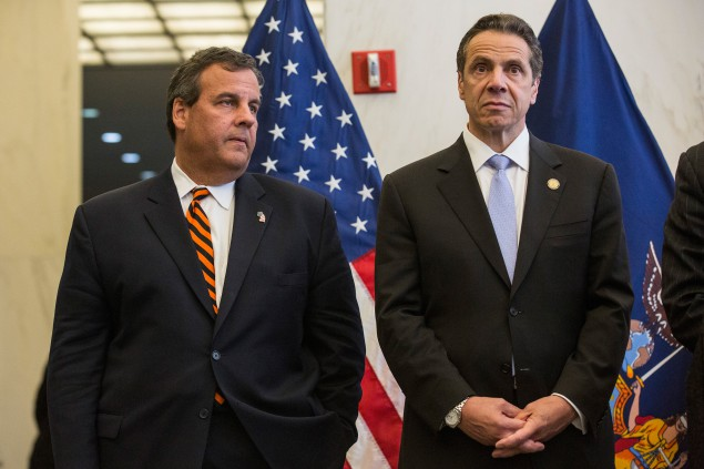 New Jersey Governor Chris Christie and New York Governor Andrew Cuomo stand side by side during a press conference after a bi-state meeting on security preparedness, September 15, 2014 (Andrew Burt/Getty Images)