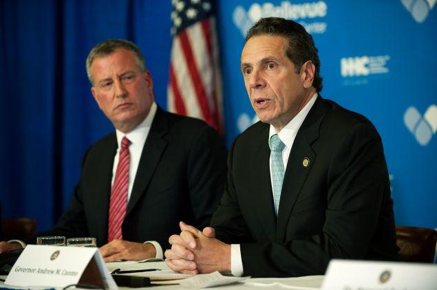 Mayor Bill de Blasio with Gov. Andrew Cuomo.