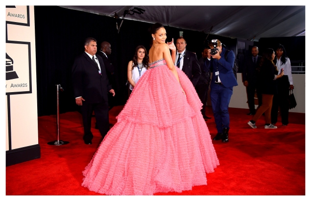 LOS ANGELES, CA - FEBRUARY 08:  (This image has been editted using digital filters) Singer Rihanna attends The 57th Annual GRAMMY Awards at the STAPLES Center on February 8, 2015 in Los Angeles, California.  (Photo by Jason Merritt/Getty Images)