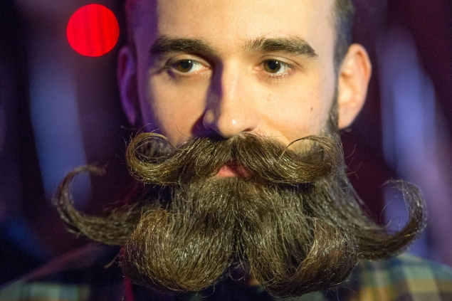 A man takes part in the Russian beard and mustaches championship in central Moscow on April 4, 2015. AFP PHOTO / ALEXANDER UTKIN        (Photo credit should read ALEXANDER UTKIN/AFP/Getty Images)