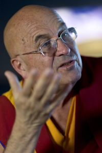 French buddhist monk, writer and photographer, Matthieu Ricard speaks on April 27, 2015 in Paris. AFP PHOTO / KENZO TRIBOUILLARD        (Photo credit should read KENZO TRIBOUILLARD/AFP/Getty Images)