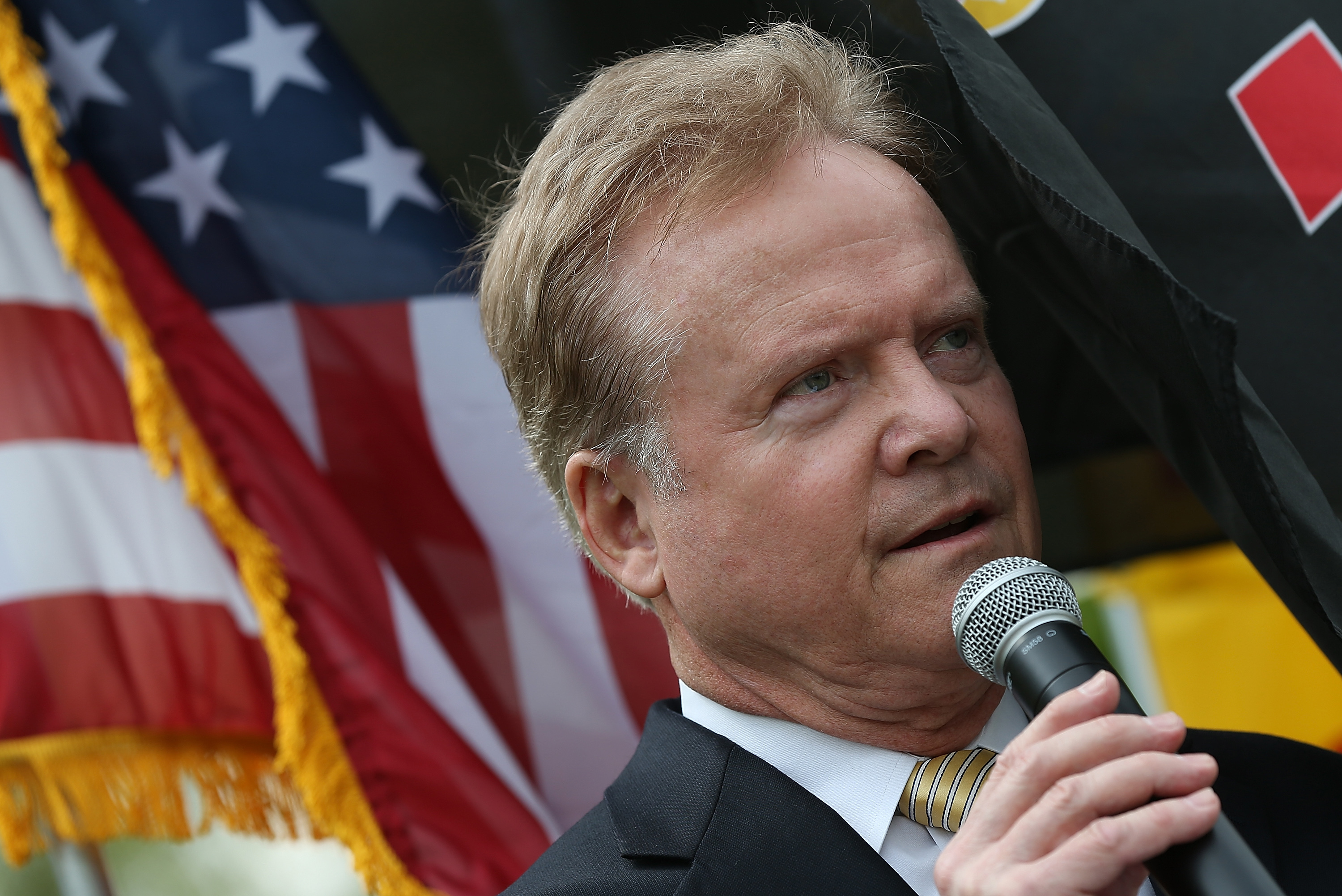 WASHINGTON, DC - APRIL 30: Former U.S. Sen. and Vietnam war veteran Jim Webb (D-VA) speaks during a ceremony commemorating the 40th anniversary of the fall of Saigon near the Vietnam Veterans Memorial April 30, 2015 in Washington, DC. April 30 marks the day that the U.S. backed South Vietnamese government fell to North Vietnamese forces. (Photo by Win McNamee/Getty Images)