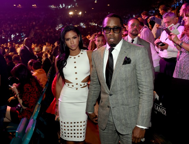 "LAS VEGAS, NV - MAY 02:  Model Cassie Ventura (L) and Sean ""Puff Daddy"" Combs pose ringside at ""Mayweather VS Pacquiao""  at MGM Grand Garden Arena on May 2, 2015 in Las Vegas, Nevada.  (Ethan Miller/Getty Images for SHOWTIME)"
