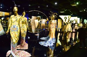 """NEW YORK, NY - MAY 04: Dress on Display at the China: Through The Looking Glass"""" Costume Institute Benefit Gala Press Preview held at Metropolitan Museum of Art on May 4, 2015 in New York City. (Photo by George Pimentel/WireImage)"""
