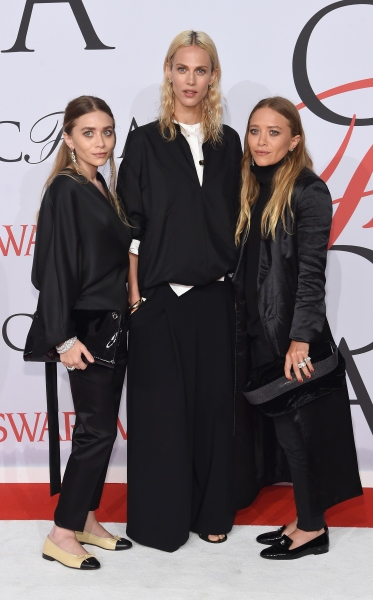 NEW YORK, NY - JUNE 01:  (L-R) Ashley Olsen, Aymeline Valade and Mary-Kate Olsen attend the 2015 CFDA Fashion Awards at Alice Tully Hall at Lincoln Center on June 1, 2015 in New York City.  (Photo by Jamie McCarthy/WireImage)
