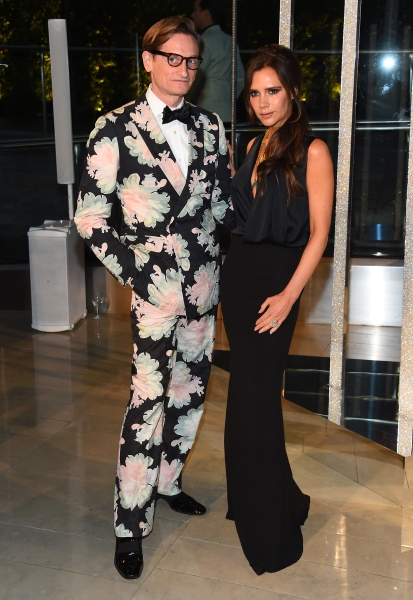 NEW YORK, NY - JUNE 01:  Hamish Bowles and Victoria Beckham attend the 2015 CFDA Fashion Awards  at Alice Tully Hall at Lincoln Center on June 1, 2015 in New York City.  (Photo by Larry Busacca/Getty Images)