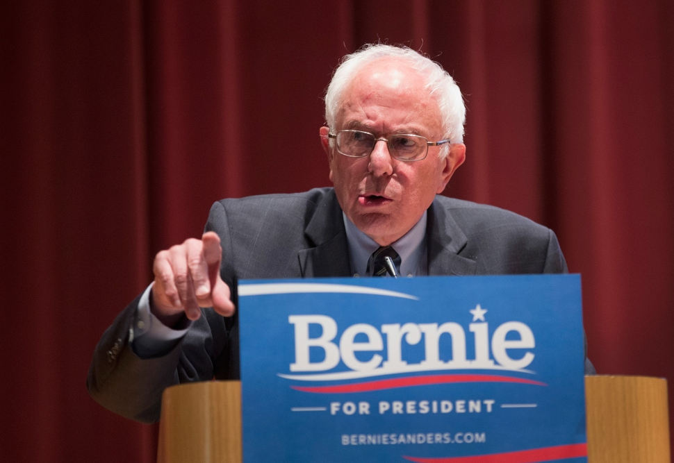 DES MOINES, IA - JUNE 12:  Democratic Presidential Nominee Senator Bernie Sanders (D-VT) speaks at a campaign event at Drake University on June 12, 2015 in Des Moines, Iowa. Sanders, an advocate of providing free college education to all Americans, was greeted by a standing-room-only crowd at the event. (Scott Olson/Getty Images)