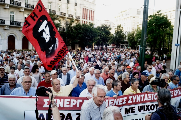 ATHENS, GREECE - JUNE 23: Pensioners take part in an anti-austerity protest organized by pensioners' unions on June 23, 2015 in Athens, Greece. This week, Greece offered a series of measures, including multiple tax increases and pension cuts, to persuade its creditors to release bailout funds and keep the country from defaulting on its debts as soon as next week. (Photo by Milos Bicanski/Getty Images)
