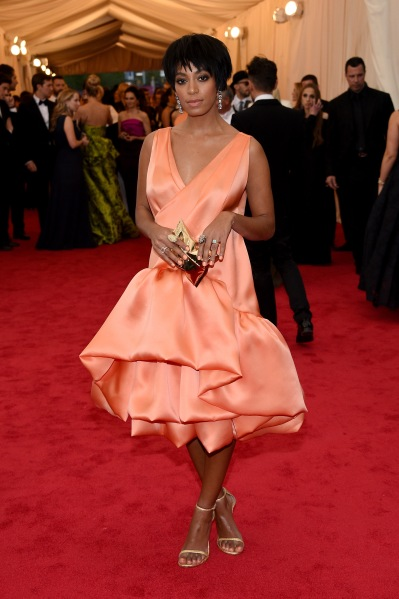"""NEW YORK, NY - MAY 05:  Solange attends the """"Charles James: Beyond Fashion"""" Costume Institute Gala at the Metropolitan Museum of Art on May 5, 2014 in New York City.  (Photo by Larry Busacca/Getty Images)"""