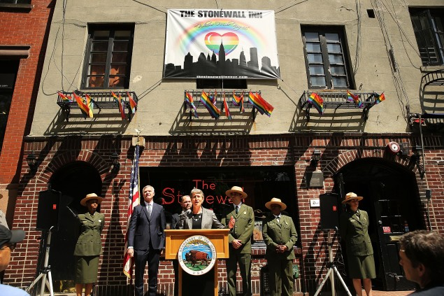 The Stonewall Inn, an iconic bar in the New York's gay rights movement and the site of a symbolic riot in 1969, might become a New York landmark. (Spencer Platt/Getty Images)