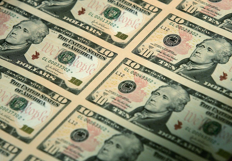 An uncut sheet of $10 bills at National Archives in 2006 in Washington, DC. The new redesigned bill will feature Alexander Hamilton and a to-be-determined woman. (Photo by Alex Wong/Getty Images)