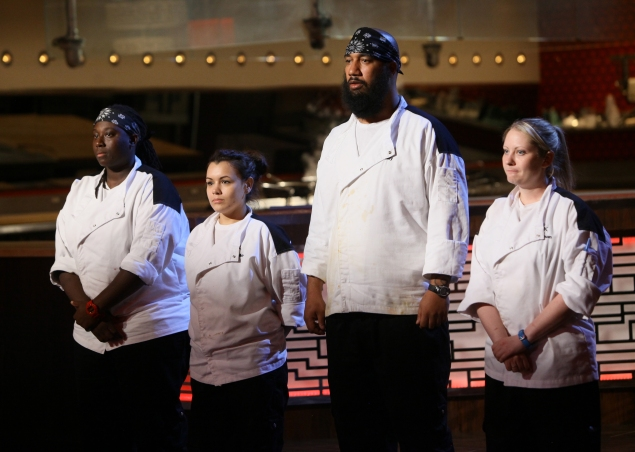"""HELL'S KITCHEN: L-R: Contestants T, Michelle, MIlly and Meghan in the all-new, """"4 Chefs Compete"""" episode of HELL'S KITCHEN airing Tuesday, June 2 (9:00-10:00 PM ET/PT) on FOX. CR: Greg Gayne / FOX. © 2015 FOX Broadcasting Co."""