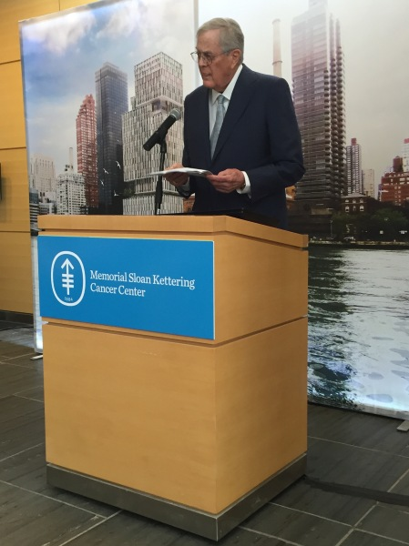 David H. Koch gave Memorial Sloan Kettering the largest single gift in its history to build a new Center for Cancer Care. The $150 million commitment brings Koch's total to $225 million. (New York Observer)