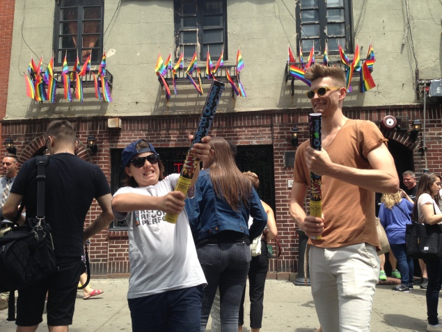 Two brothers set off roman candles outside The Stonewall Inn to celebrate The Supreme Court's legalization of gay marriage. (Photo by Justin Joffe/ Observer)