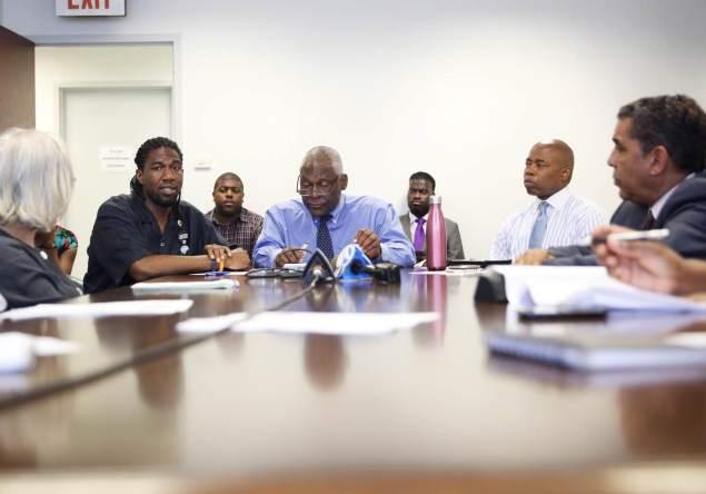 Councilman Jumaane Williams, left, next to Assemblyman Keith Wright, Brooklyn Borough President Eric Adams and State Senator Adriano Espaillat (Photo: William Alatriste/NYC Council).