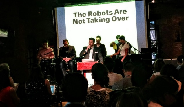 """The Robots Will Not Take Over"" panel at the Wythe Hotel in Williamsburg, part of the 2015 Northside Innovation Festival. (Photo: Brady Dale/Observer)"