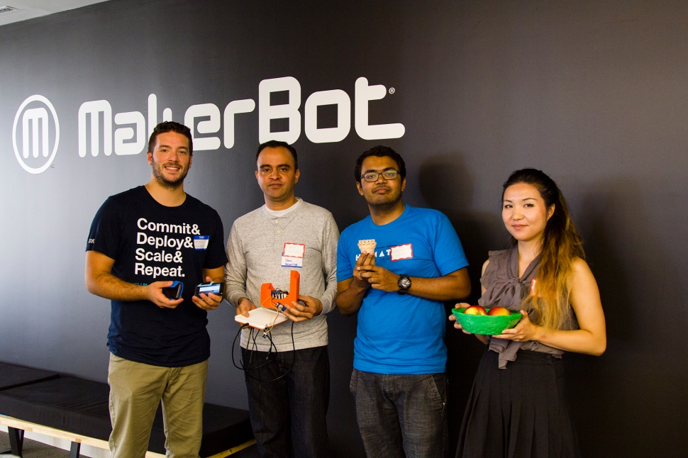 """The Food Share team, winners of MakerBot and FirstBuild's """"Think Inside the Fridge"""" hackathon. (Photo: Makerbot)"""