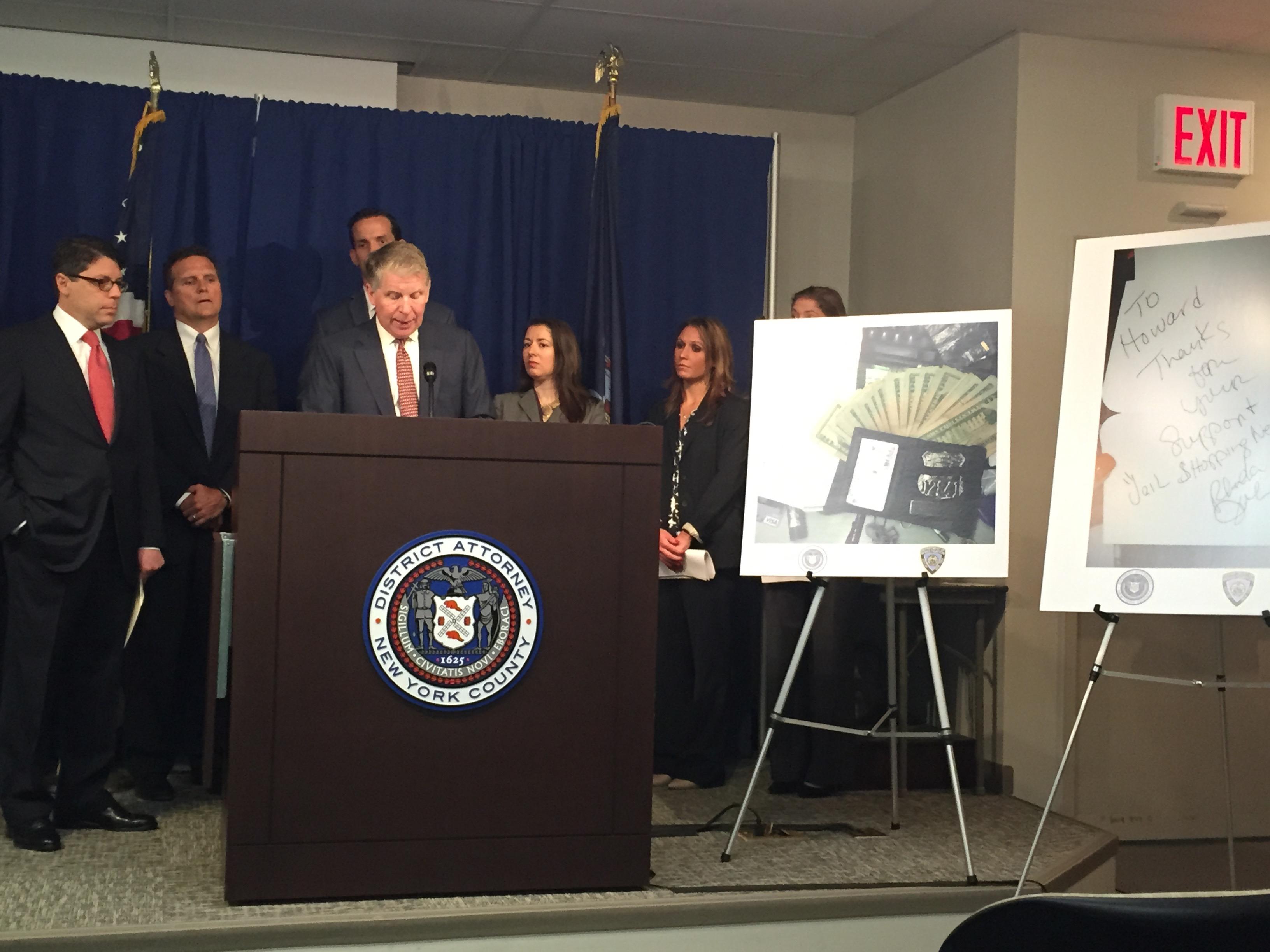 Manhattan D.A. Cyrus Vance Jr. speaks during a press conference today. (Photo: Jillian Jorgensen)
