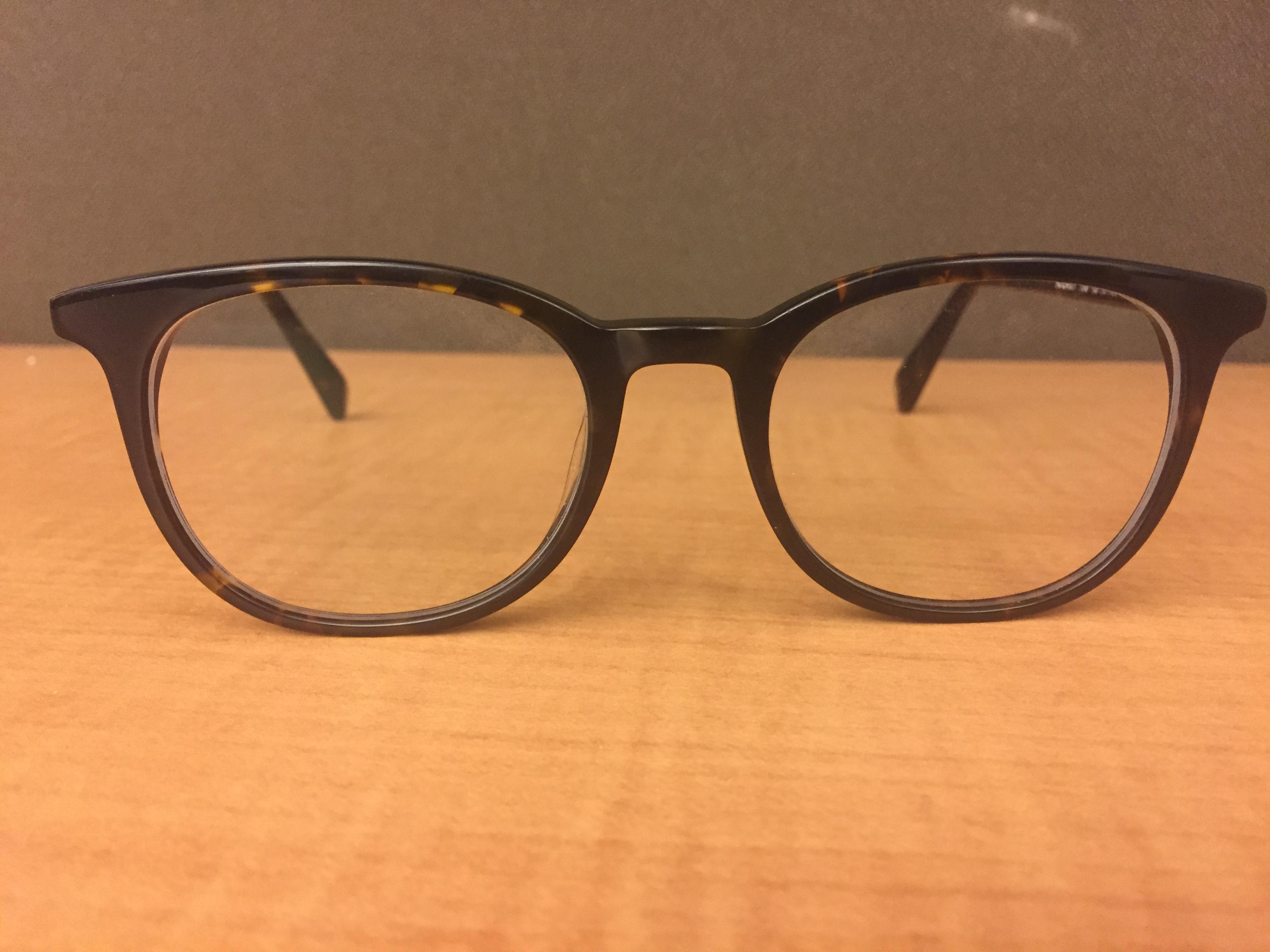 A pair of Warby Parker glasses. (Photo: Jillian Jorgensen/New York Observer)