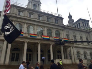 Rainbow flags were put up at City Hall today after the Supreme Court legalized gay marriage nationwide. (Photo: Jillian Jorgensen/New York Observer)
