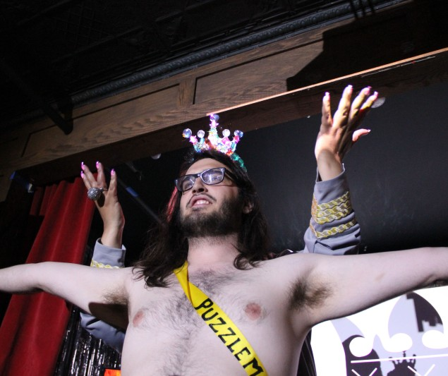 Puzzlemaster wins the $500 cash prize at the 3rd Annual Smallest Penis In Brooklyn Pageant. (Photo by Justin Joffe/ New york Observer)
