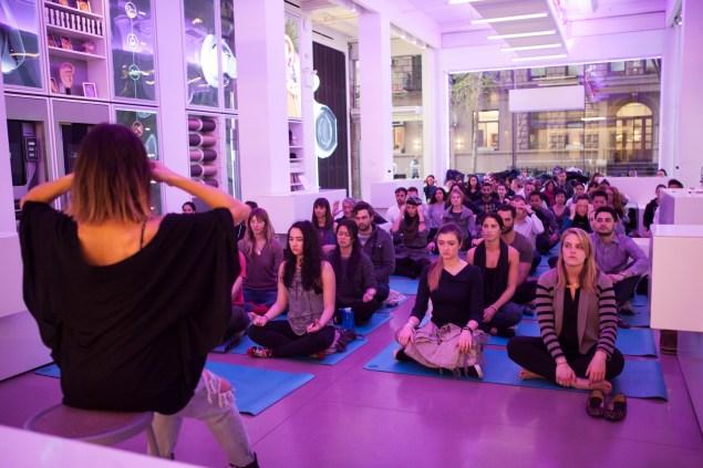 Ms. Simkin leading a recent meditation. (Photo: Biet Simkin)