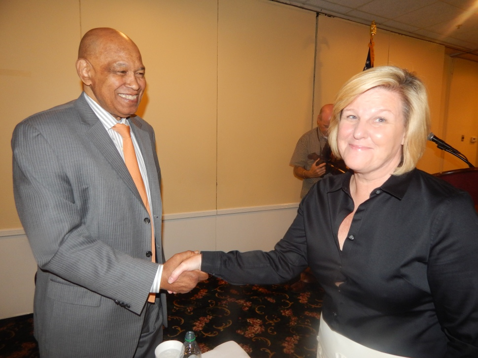 A HELPING HAND: Green and Fanwood Mayor Colleen Mahr.