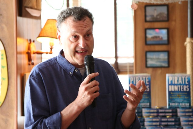 Robert Kurson addressed the crowd at the Rusty Knot to celebrate the release of his new book Pirate Hunters (Photo: Patrick McMullan)