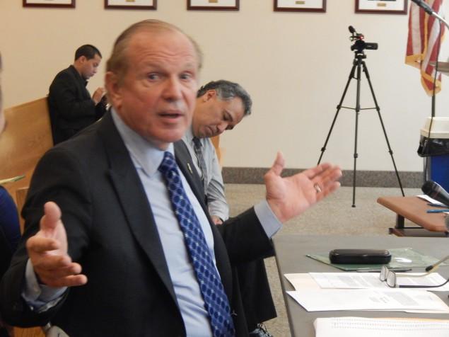 Lesniak at a Bayonne hearing in June.