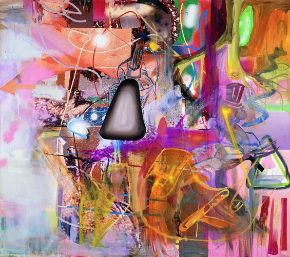 Albert Oehlen, Party Dreams, 2001. Mixed mediums on canvas, 118 1/8 × 133 7/8 in. Image courtesy the artist and Luhring Augustine, New York.