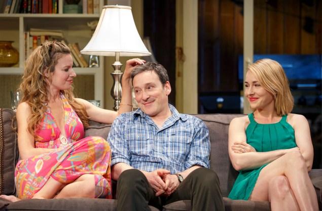 From left: Kate Arrington, Jeremy Shamos and Sarah Goldberg in The Qualms. (Photo: Joan Marcus)