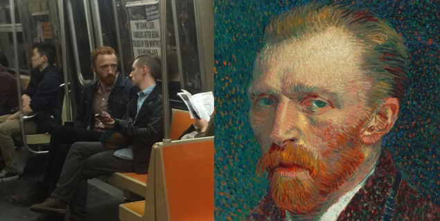 A user on Reddit snapped a photo of Mr. Reynolds on the train and paired it with one of Van Gogh's self portraits. The pic went viral and inspired him to team with friends to create a YouTube show. (Photo: The Van Gogh Show)