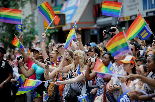 Gilbert Baker's Rainbow Flag is a staple at Pride Marches around the world. (Photo: Getty)