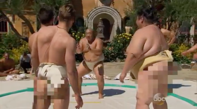 Every Butt Censorer's dream: the sumo wrestling group date. (Photo: ABC)