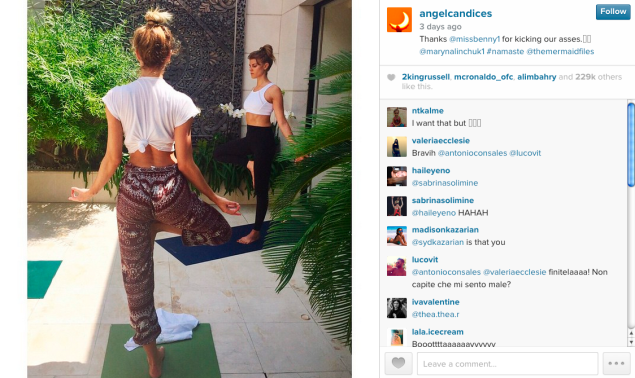 Candice Swanepoel did some outdoor yoga poses. (Photo: Instagram)
