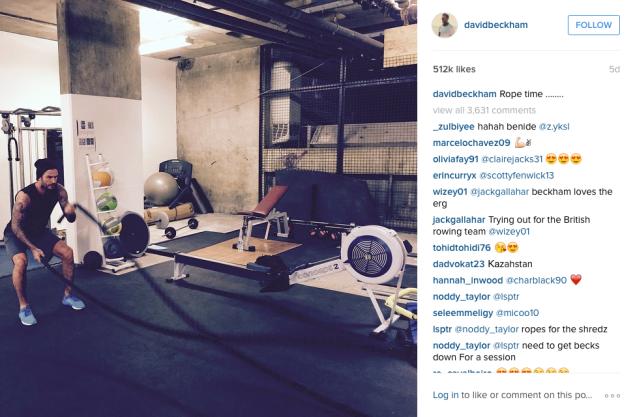 David Beckham did some rope exercises. (Photo: Instagram/David Beckham)