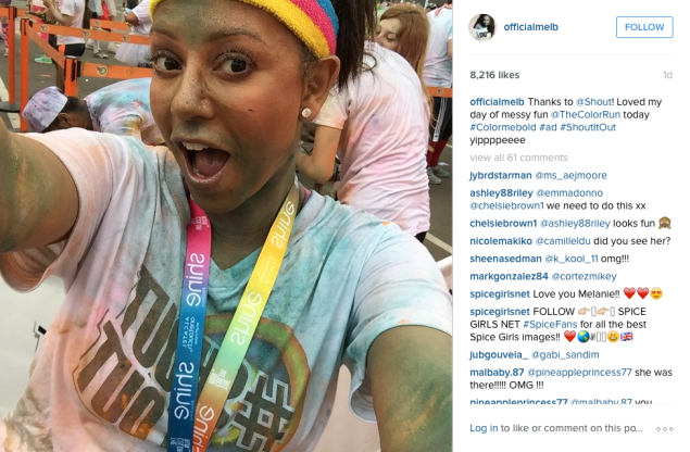 Mel B. did a Color Run over the weekend. (Photo: Instagram/Mel B.)