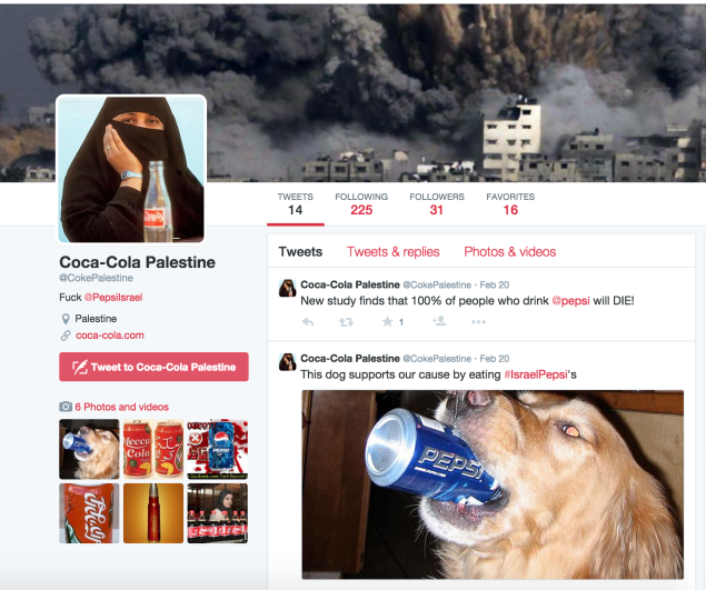 The Twitter account for Coca-Cola Palestine features some interesting messaging. (Twitter)