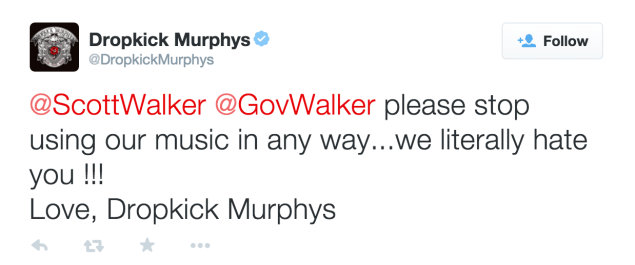 Literally, figuratively, it's all the same to Dropkick Murphys. (Photo: Twitter)