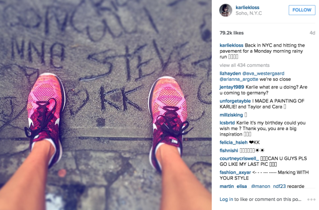Ms. Kloss slipped into her sneakers for a morning run. (Photo: Instagram/Karlie Kloss)